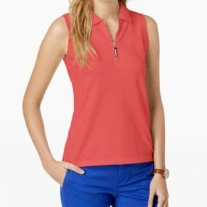 Tommy Hilfiger Coral Zip-Up Polo Top NWT
